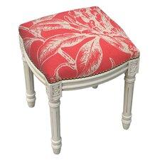 Floral Coral Botanical Linen Upholstered Vanity Stool