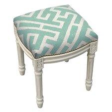 Graphic Lattice Linen Upholstered Vanity Stool