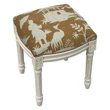 Floral Chinoiserie Linen Upholstered Vanity Stool