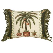 Palm Tree 100% Wool Needlepoint Pillow with Fabric Trimmed