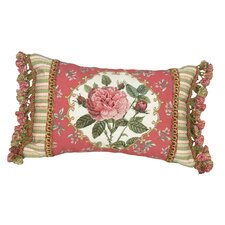 Rose 100% Wool Petit - Point Pillow with Fabric Trimmed