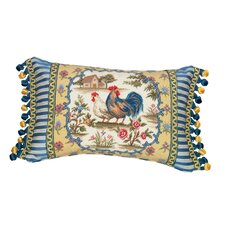 Country Rooster 100% Wool Petit - Point Pillow with Fabric Trimmed