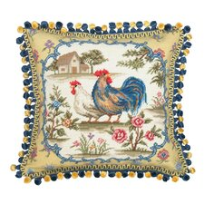 Country Rooster 100% Wool Needlepoint Pillow