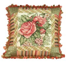 Spring Rose 100% Wool Petit - Point Pillow with Fabric Trimmed