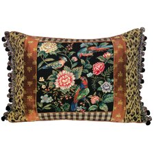 Canton Garden 100% Wool Petit - Point Pillow with Fabric Trimmed