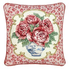 <strong>123 Creations</strong> Rose Leopard Print 100% Wool Needlepoint Pillow