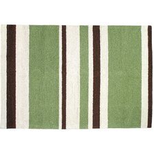 Modern Green/Brown Stripe Hook Rug