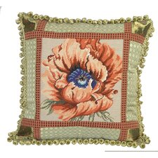 Poppy Needlepoint Pillow with Fabric Trimmed