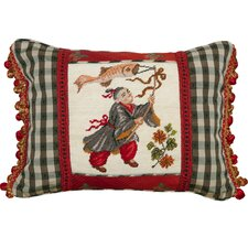 Boy with Kite Petit-Point Pillow with Fabric Trimmed
