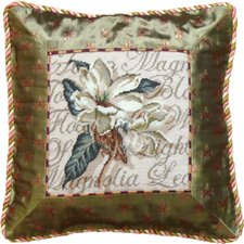 Magnolia 100% Wool Petit-Point Pillow with Fabric Trimmed