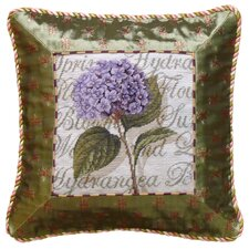 Hydrangea 100% Wool Petit-Point Pillow with Fabric Trimmed