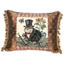 <strong>123 Creations</strong> Frog-Gentleman 100% Wool Needlepoint Pillow with Fabric Trimmed