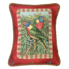 Parrot 100% Wool Rectangular Petit-Point Pillow with Fabric Trimmed