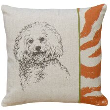 <strong>123 Creations</strong> Bichon 100% Linen Screen Print Pillow