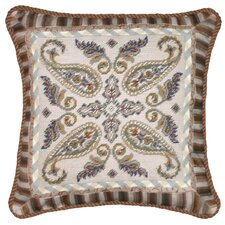 <strong>123 Creations</strong> Paisley 100% Wool Needlepoint Pillow with Fabric Trimmed