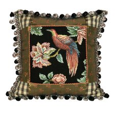 Royal Garden - Bird 100% Wool Petit - Point Pillow with Fabric Trimmed