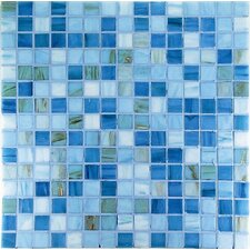 "Project Plus 13"" x 13"" Glass Mosaic in Mix Azzurro Bronze"