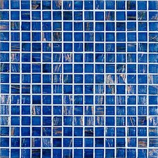 "Monocolor 13"" x 13"" Glass Mosaic in Blue Bronze"