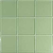 "Crystal-A 4"" x 4"" Glass Mosaic in Glossy Green"