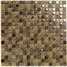 "<strong>Casa Italia</strong> Pure & Natural 11.75"" x 11.75"" Natural Stone and Glass Mosaic in Pure Dark Emperador"