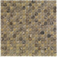 "<strong>Casa Italia</strong> Pure & Natural 11.75"" x 11.75"" Natural Stone and Glass Mosaic in Pure Dark Emperador and Natural Frosted"
