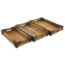 Brighton 3 Piece Wooden Tray Set