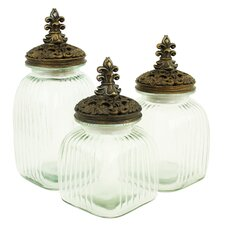 Amora 3 Piece Glass Jars with Lids Set