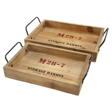 Morris 2 Piece Wooden Tray Set