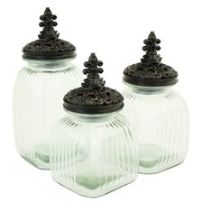 Sydnie 3 Piece Glass Jars with Lids Set