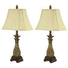 """Shawn Pineapple 26"""" H Table Lamp with Rectangle Shade (Set of 2)"""