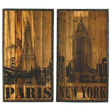 2 Piece Paris-NY Distressed Wood Wall Decor Set