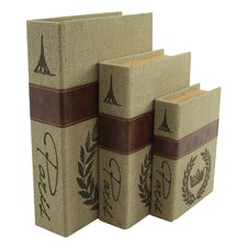 Paris 3 Piece Burlap Faux Book Box Set