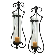 Rhodes Metal and Glass Sconce (Set of 2)