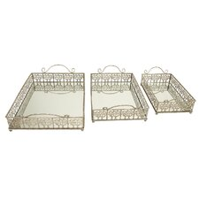 Mirrored Rectangular Serving Tray (3 Piece Set)