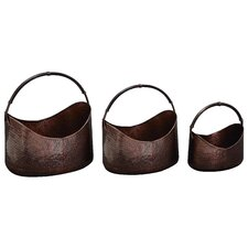 Metal Basket Planters with Handle (Set of 3)