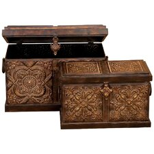 Rustic Embossed Metal Trunk (Set of 2)