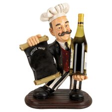 Restaurant Chef Statue Tabletop Wine Rack