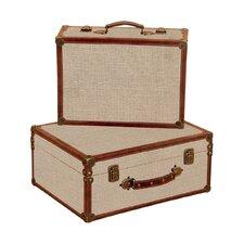 Burlap Decorative Suitcases (Set of 2)
