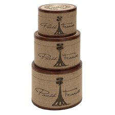 Round Paris France Burlap Trunks (Set of 3)