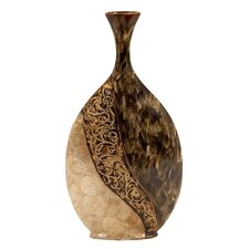 Ceramic Vase with Capiz Shell Accents