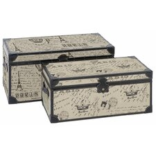 Paris Script Rectangular Trunk 2 Piece Set