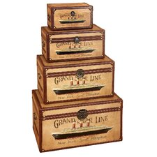 <strong>Aspire</strong> Vintage Style Wood Storage Trunks 4 Piece Set