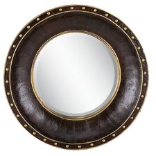 Round Faux Leather Wall Mirror