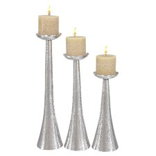 3 Piece Aluminum Candlesticks Set