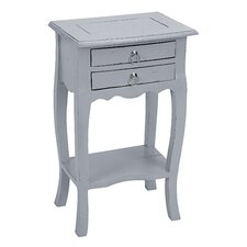 Gray Accent End Table with Drawers