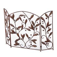 3 Panel Metal Leaves Fireplace Room Divider