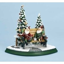 Elves On Bench Figurine with Light