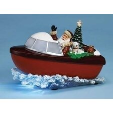 Mus Santa In Boat Figurine
