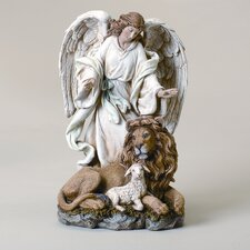 Angel with Lion and Lamb Figurine