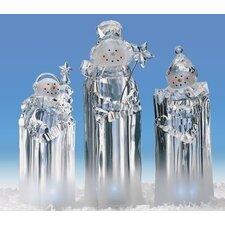 3 Piece LED Snowman Ice Cube Set
